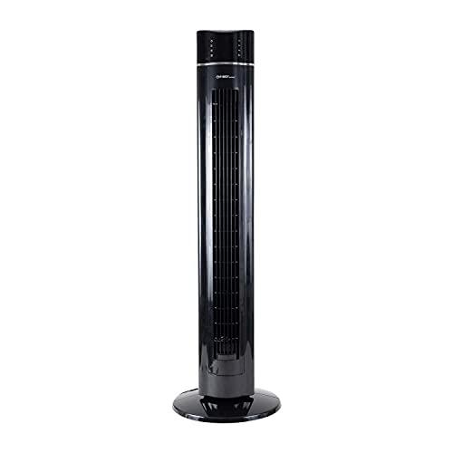 TZS First Austria - 60 Watt 109 cm Säulenventilator mit Fernbedienung   Timer bis zu 7 Std   Oscillation   Duftfach   Ionen-Funktion entfernt Feinstaub   Turmventilator   Towerventilator   schwarz