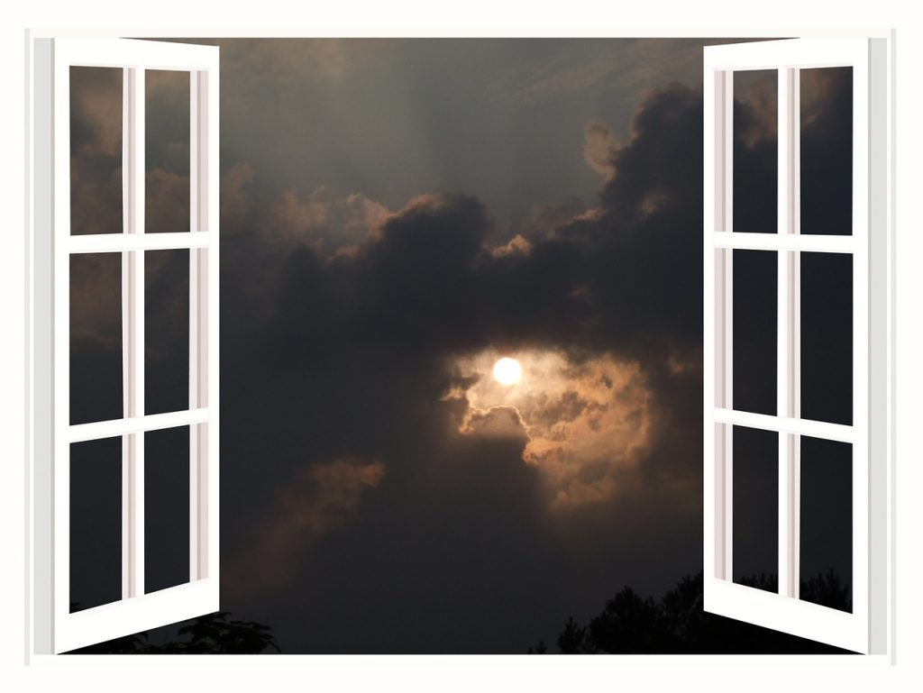 Fenster Lüften Fensterrahmen Mond
