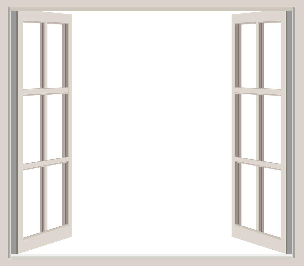 Weiße Fenster offen Fensterrahmen Lüften